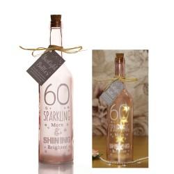 Bottiglia di vetro con luce interna per 60° compleanno