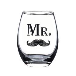 Bicchiere da vino in vetro con baffi per lo sposo