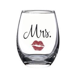 Bicchiere da vino in vetro con labbra rosse per la sposa