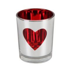 Portacandele argentato con cuore rosso