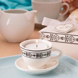 Portacandele tazza da tè in ceramica