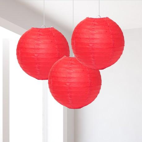 Lanterne rosse piccole 3 pezzi