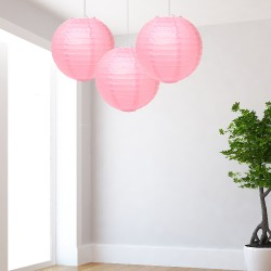 Lanterne rosa medie 3 pezzi