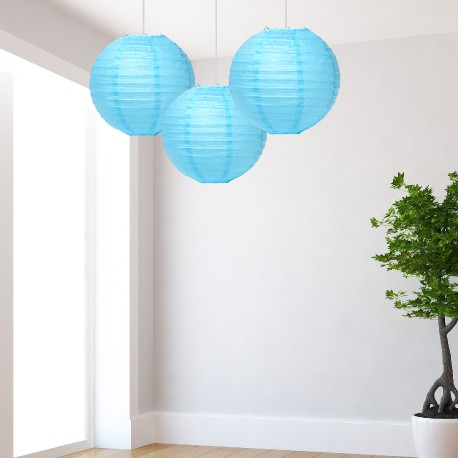 Lanterne azzurre medie 3 pezzi