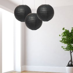 Lanterne medie nere 3 pezzi