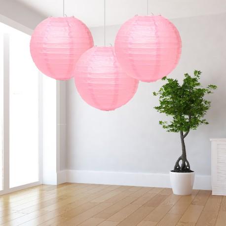 Lanterne rosa grandi 3 pezzi