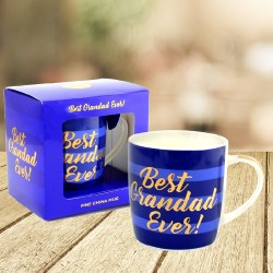 Best Grandad Ever Blue Stripe Mug With Gold Writing