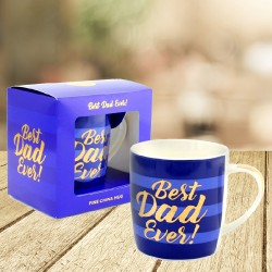 Best Dad Ever Blue Stripe Mug With Gold Writing