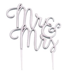 Cake topper Mr e Mrs argentato