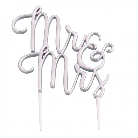 Silver Mr And Mrs Wedding Cake Topper