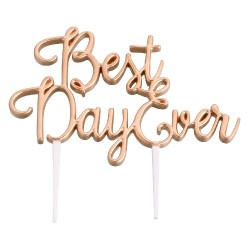 Cake topper best day ever dorato