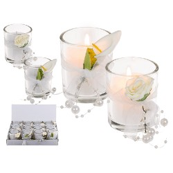 Candela profumata in vetro con decorazione floreale
