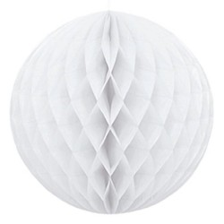 Sfera di carta bianca a nido d'ape 25 cm