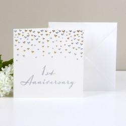 Biglietto di auguri per primo anniversario di matrimonio o di fidanzamento.