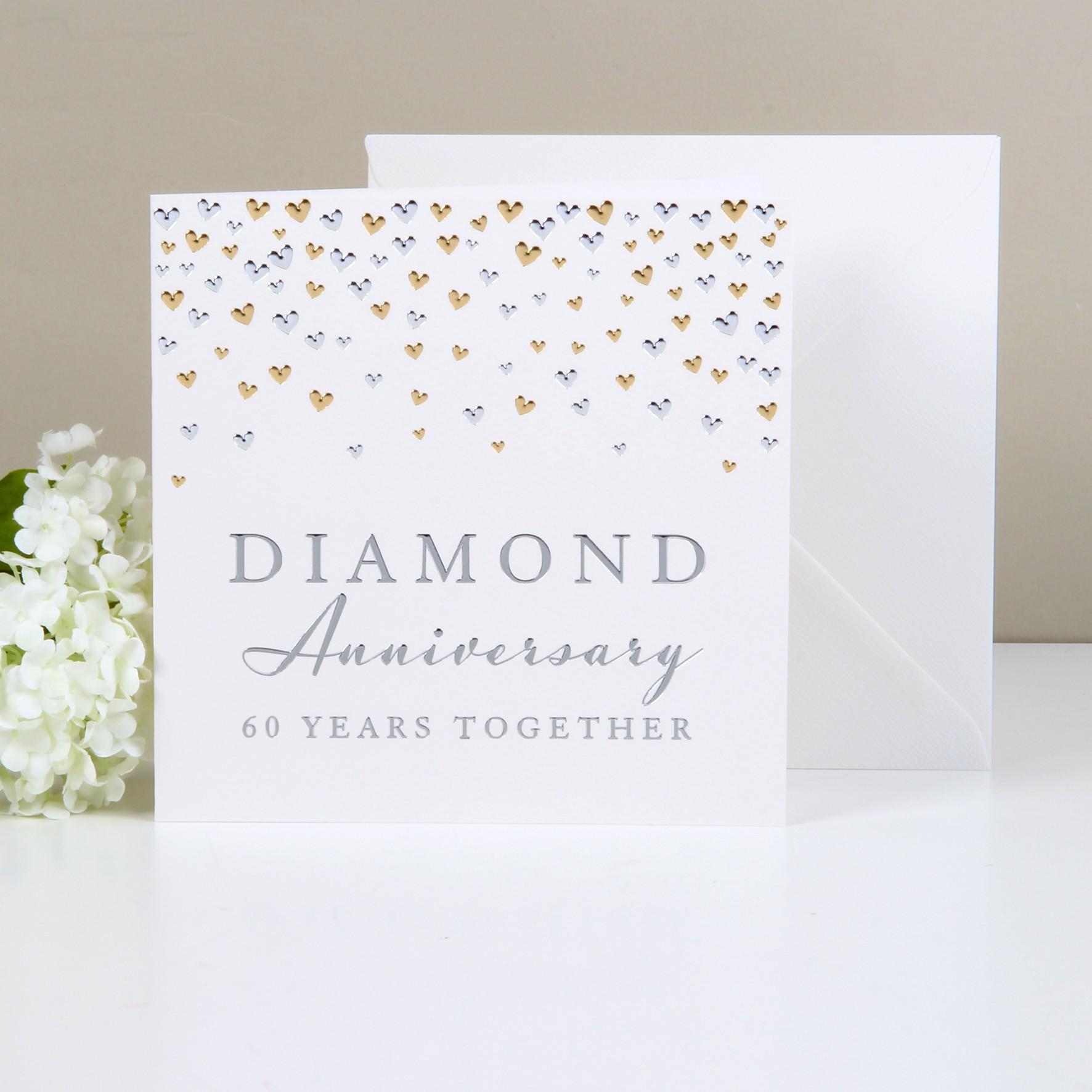 Cartoline Anniversario Matrimonio.Biglietto Di Auguri Per Nozze Di Diamante