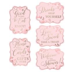 Cartelli rosa e dorati per addio al nubilato set 5 pezzi