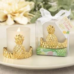 Portacandele in vetro con ananas dorata