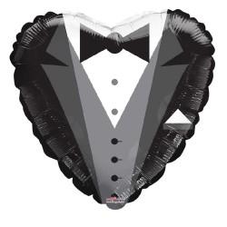 Palloncino a forma di cuore vestito da sposo