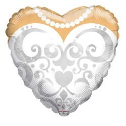 Palloncino a forma di cuore vestita da sposa