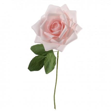 Rosa decorativa rosa con stelo