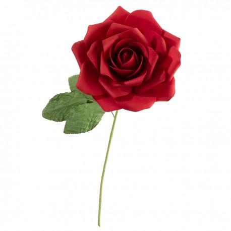 Rosa rossa decorativa con stelo