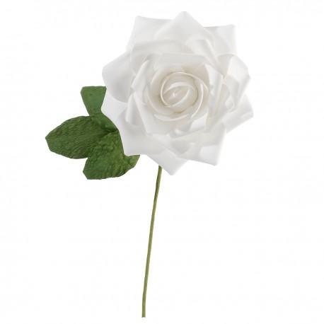 Rosa bianca decorativa con stelo