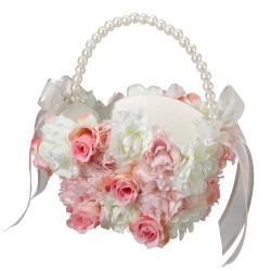 Cestino porta petali con fiori bianchi e rosa