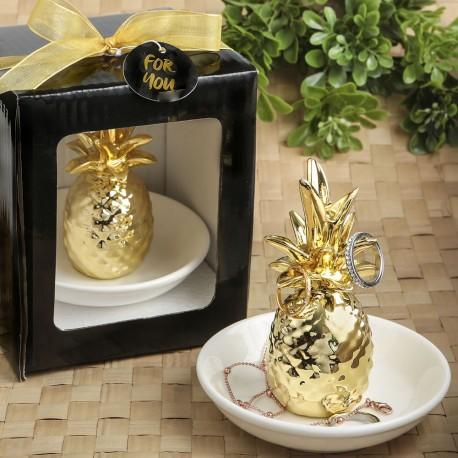 Portagioielli a forma di ananas dorato
