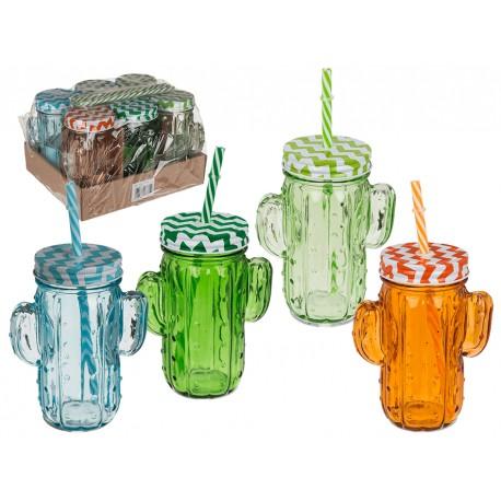 Bicchiere con coperchio con motivo a cactus