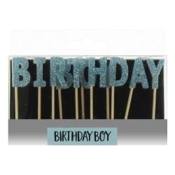 Candeline azzurre con scritta birthday boy