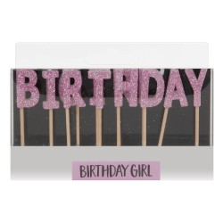 Candeline rosa con scritta birthday girl