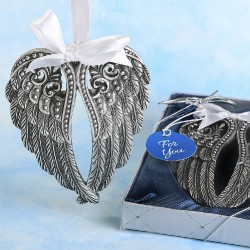 Angel Themed Ornament Silver Angel Wings Design Ornament With A Pewter Finish