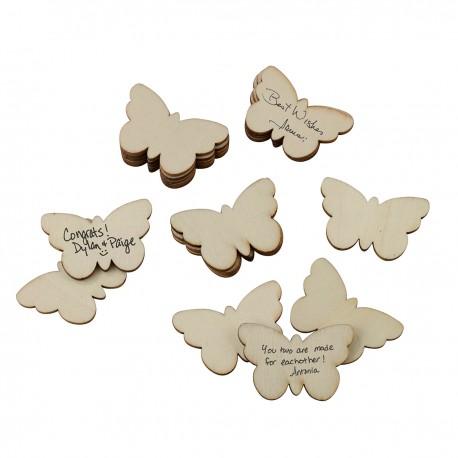 Farfalle di legno per le firme degli ospiti set 49 pezzi