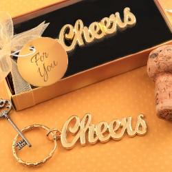 Portachiavi dorato con scritta cheers