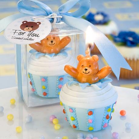 Candela a forma di cupcake blu con orsetto