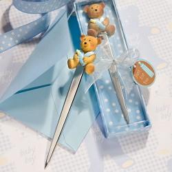 Tagliacarte per battesimo con orsetto blu