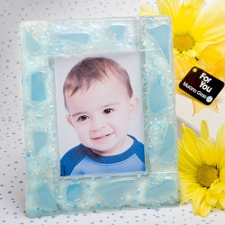 Murano Collection Blue Frosted Finish Picture Frame