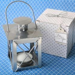 Mini lanterna argentata con gancio