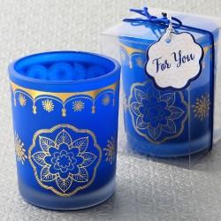 Portacandele blu con disegni dorati