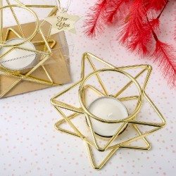 Portacandele dorato a forma di stella tridimensionale