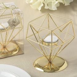 Portacandele dorato di forma geometrica