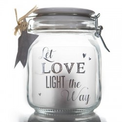 Barattolo di vetro con luce interna e frase Let Love Light The Way