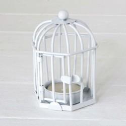Portacandele a forma di gabbia bianca