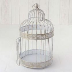 Centrotavola vintage a forma di gabbia bianca
