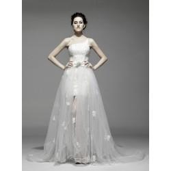 Abito da sposa e cerimonia corto con strascico staccabile Mod. Astra