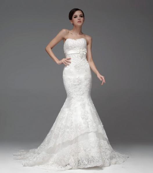 Immagine di un abito da sposa a sirena