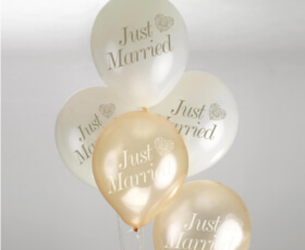 Palloncini Just Married avorio e oro