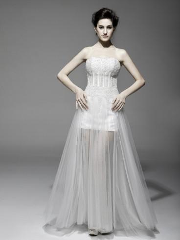 Abito da sposa e cerimonia corto con strascico Mod. Carmen